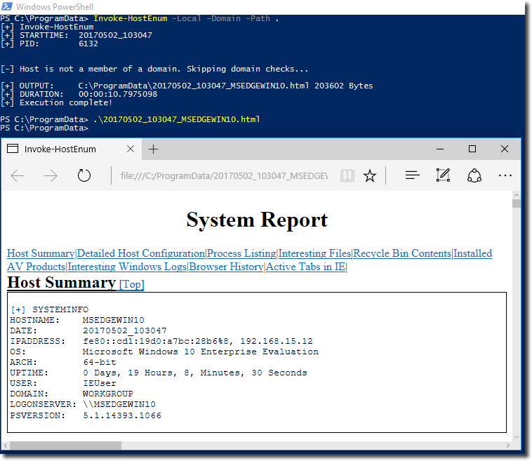 Invoke-HostEnum HTML Report